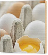 Eggs In Box Wood Print by Elena Elisseeva