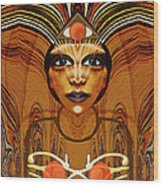 055 - Egyptian Woman Warrior Magic   Wood Print by Irmgard Schoendorf Welch