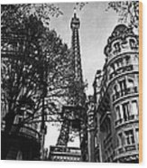 Eiffel Tower Black And White Wood Print by Andrew Fare