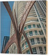 Element Of Duenos Do Los Estrellas Statue With Miami Downtown In Background  Wood Print by Ian Monk