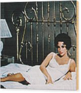 Elizabeth Taylor In Cat On A Hot Tin Roof  Wood Print by Silver Screen