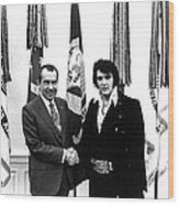 Elvis Presley And President Nixon Wood Print by Retro Images Archive