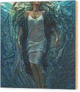 Emerge Painting Wood Print by Mia Tavonatti
