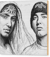 Eminem Art Drawing Sketch Poster Wood Print by Kim Wang