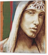 Eminem - Stylised Drawing Art Poster Wood Print by Kim Wang