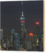 Empire State Building Lightning Strike I Wood Print by Clarence Holmes