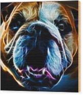 English Bulldog - Electric Wood Print by Wingsdomain Art and Photography