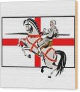 English Knight Lance Horse England Flag Side Retro Wood Print by Aloysius Patrimonio