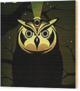 Enlightened Owl Wood Print by Milton Thompson