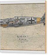 Erich Hartmann Messerschmitt Bf-109 - Map Background Wood Print by Craig Tinder