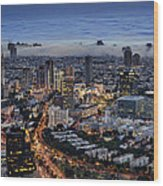 Evening City Lights Wood Print by Ron Shoshani