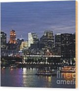Evening On The River Wood Print by Mel Steinhauer