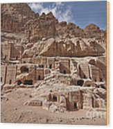 facade street in Nabataean ancient town Petra Wood Print by Juergen Ritterbach