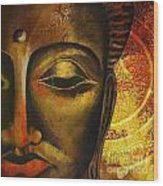 Face Of Buddha  Wood Print by Corporate Art Task Force