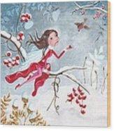 Fairy With Berries Wood Print by Caroline Bonne-Muller