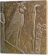 Falcon Symbol For Horus In A Crypt In Temple Of Hathor In Dendera-egypt Wood Print by Ruth Hager