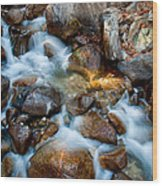 Falls And Rocks Wood Print by Cat Connor