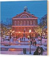 Faneuil Hall Holiday- Boston Wood Print by Joann Vitali