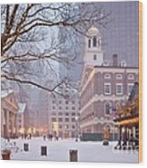 Faneuil Hall In Snow Wood Print by Susan Cole Kelly