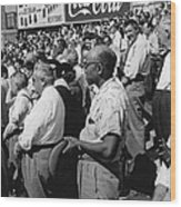 Fans At Yankee Stadium Stand For The National Anthem At The Star Wood Print by Underwood Archives