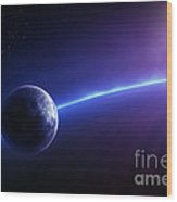 Fantasy Earth And Moon With Colourful  Sunrise Wood Print by Johan Swanepoel