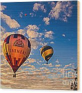 Farmer's Insurance Hot Air Ballon Wood Print by Robert Bales