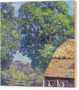 Farmyard With Poultry Wood Print by Gabriel Edouard Thurner