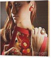 Fashionable Girl Portrait Wood Print by Anna Om