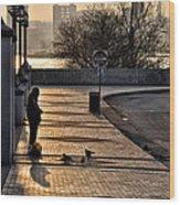 Feeding The Birds At Dawn Wood Print by Bill Cannon