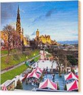 Festive Princes Street Gardens - Edinburgh Wood Print by Mark E Tisdale