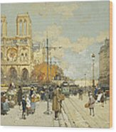 Figures On A Sunny Parisian Street Notre Dame At Left Wood Print by Eugene Galien-Laloue