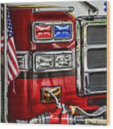 Fireman - Fire Engine Wood Print by Paul Ward