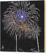 Firewoks Wood Print by Susan Candelario