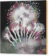 Fireworks On High School Hill Wood Print by Jean Pacheco Ravinski