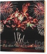 Fireworks Over The Delaware Wood Print by Nick Zelinsky