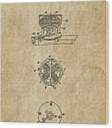 First Electric Motor 3 Patent Art 1837 Wood Print by Daniel Hagerman