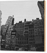 Fisheye View Of 34th Street From 1 Penn Plaza New York City Usa Wood Print by Joe Fox