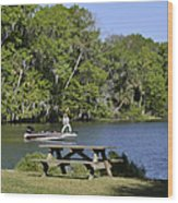 Fishing At Ponce De Leon Springs Fl Wood Print by Christine Till