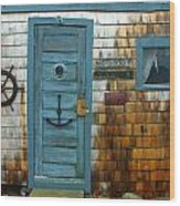 Fishing Hut At Rockport Maritime Wood Print by Jon Holiday