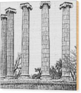 Five Columns Sketchy Wood Print by Debbie Portwood