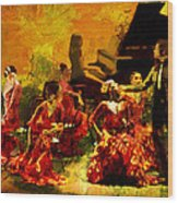 Flamenco Dancer 020 Wood Print by Catf