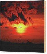Flaming Sunset Wood Print by Christi Kraft