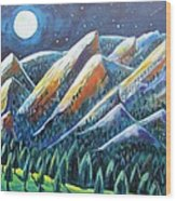 Flatirons In The Moonlight Wood Print by Harriet Peck Taylor