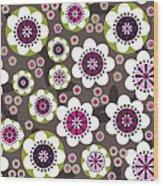 Floral Grunge Wood Print by Lisa Noneman