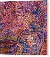 Floral With Gold Leaf On Vase Wood Print by Anne-Elizabeth Whiteway