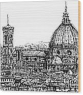 Florence Duomo In Ink  Wood Print by Adendorff Design