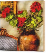 Flower - Geraniums On A Table  Wood Print by Mike Savad