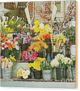 Flowers At The Bi-rite Market In San Francisco  Wood Print by Artist and Photographer Laura Wrede