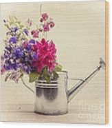Flowers In Watering Can Wood Print by Edward Fielding
