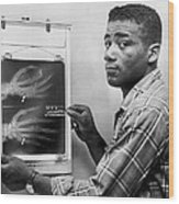 Floyd Patterson Looking At X Ray Wood Print by Retro Images Archive
